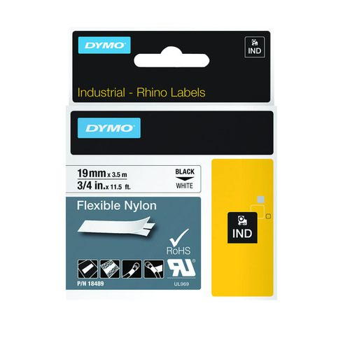 DYMO Rhino Tape Nylon 12mm Black on White 18488 S0718100