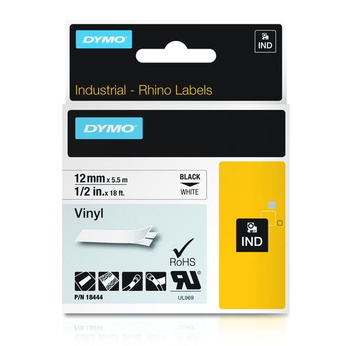 DYMO Rhino Tape Nylon 19mm Black on White 18489