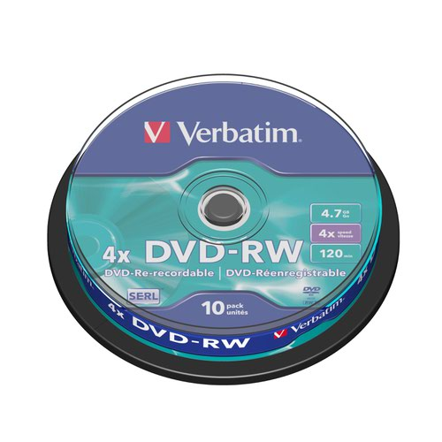 Verbatim DVD-RW 4X Pk10 Spindle 43552