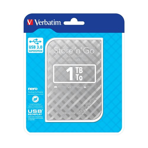 Verbatim Store n Go Mobile Hard Drive 1TB Silver