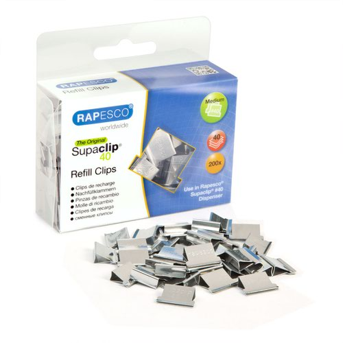 Rapesco Supaclip 40 Refill Stainless Steel (200) CP20040S