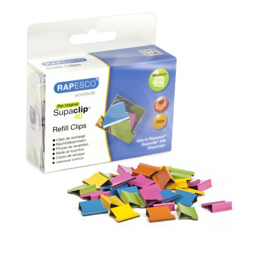 Rapesco Supaclip 40 Refill Assorted Colours (150) CP15040M