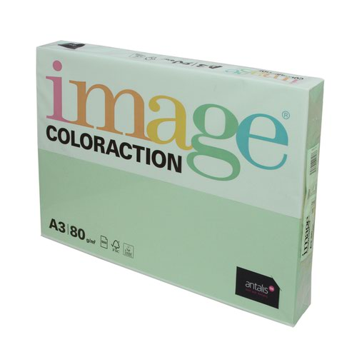 Image Coloraction Tinted Paper A3 80gsm Pastel Green Forest (500) 97153