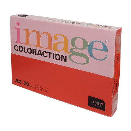 Image Coloraction Tinted Paper A3 80gsm Dark Red London (500) 61163