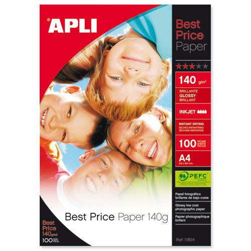Apli Best Price Glossy Inkjet Photo Paper A4 140gsm (100) 11804