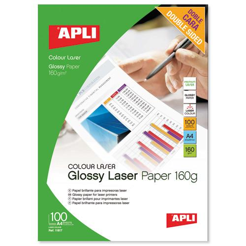 Apli Glossy Double Sided Laser Photo Paper A4 160gsm (100) 11817