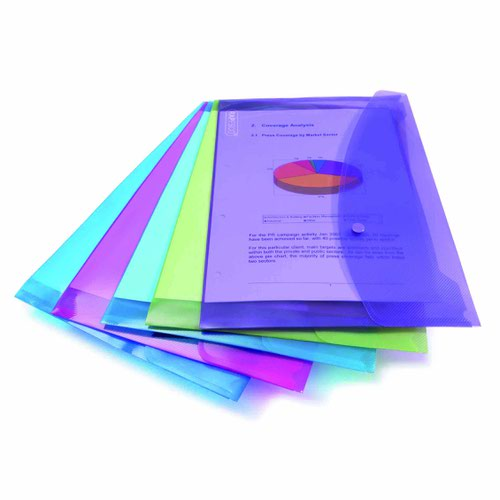 Rapesco ECO Popper Wallet Foolscap Bright Assorted Colours 0688