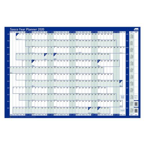 Sasco 2020 Year Planner Mounted Landscape 915x610mm Ref 2410100 [REDEMPTION] Oct-Dec19