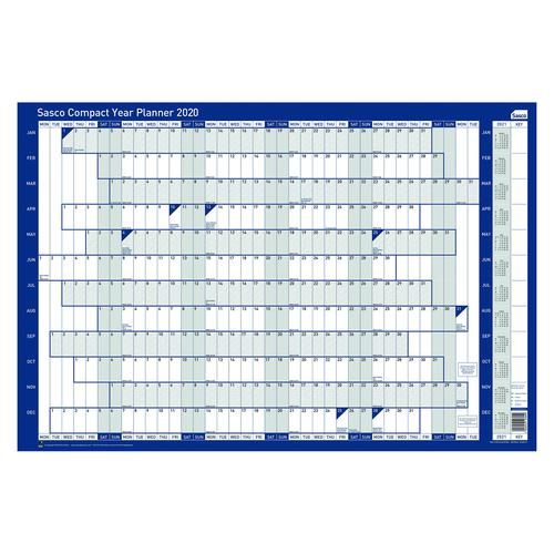 Sasco Compact Year Planner Landscape 2020 (Dimensions: W610 x H405mm) 2410106