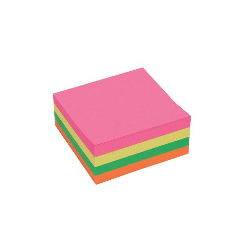 Value Repositionable Notes Cube 75x75mm Neon
