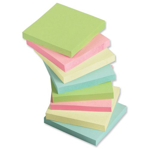 Value Repositionable Notes 76x76mm Assorted Pastel (12)