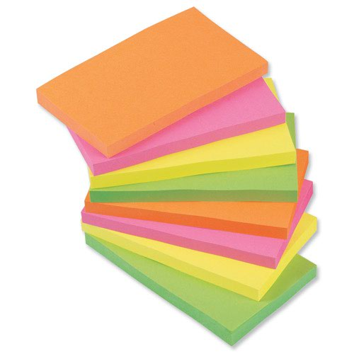 Value Repositionable Notes 76x127mm Assorted Neon (12)