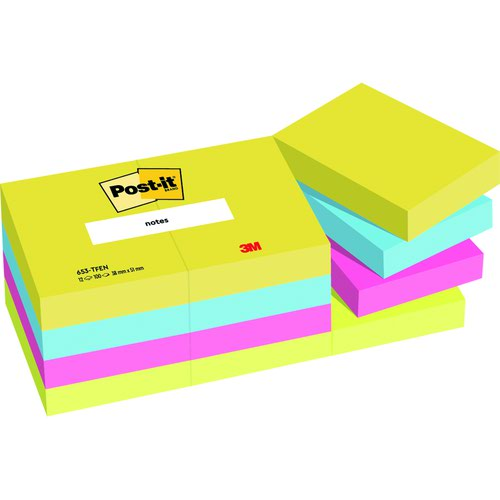 3M Post-it Note Energy Colours 38x51mm Warm Neon Rainbow (12) 653TF