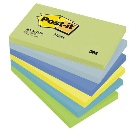 3M Post-it Note Dream Colours 76x127mm Cool Neon Rainbow (6) 655-MTDR
