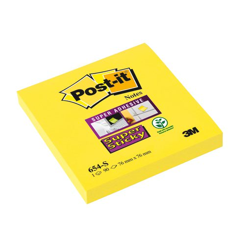 3M Post-it Super Sticky Note 76x76mm Ultra Yellow 654-S6