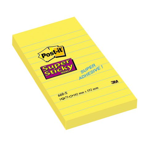 3M Post-it Super Sticky Note 102x152mm Ultra Yellow 660-S
