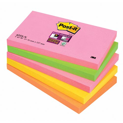 3M Post-it Super Sticky Note 76x127mm Cape Town (5) 655-SN