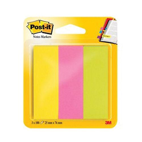 3M Post-it Page Markers 25x76mm Assorted Neon (300) 671-3