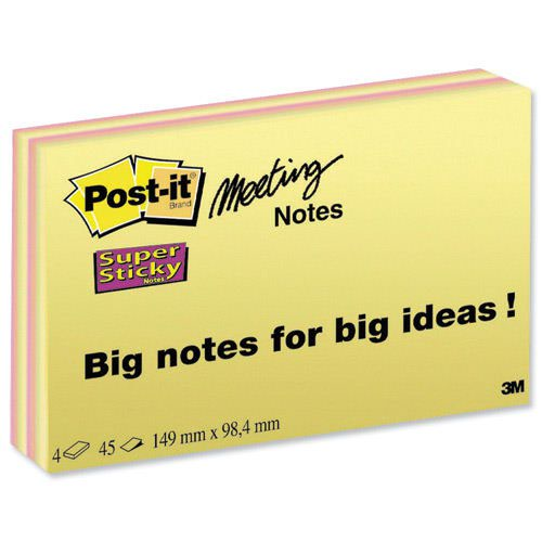 3M Post-it Super Sticky Meeting Notes 149x98.4mm (4) 6445-4SSP
