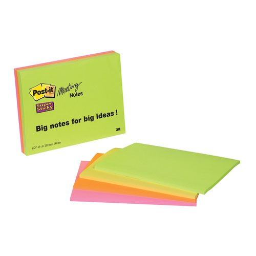 3M Post-it Super Sticky Meeting Notes 200x149mm (4) 6845-SSP