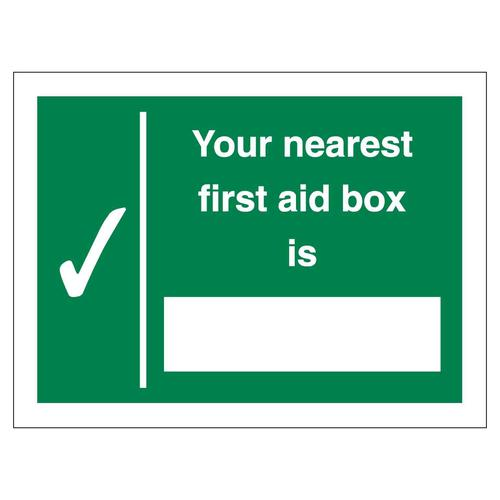Nearest First Aid Box Sign 150x200mm Self-Adhesive Vinyl