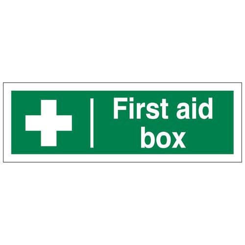 First Aid Box Sign 300x100mm Self-Adhesive Vinyl