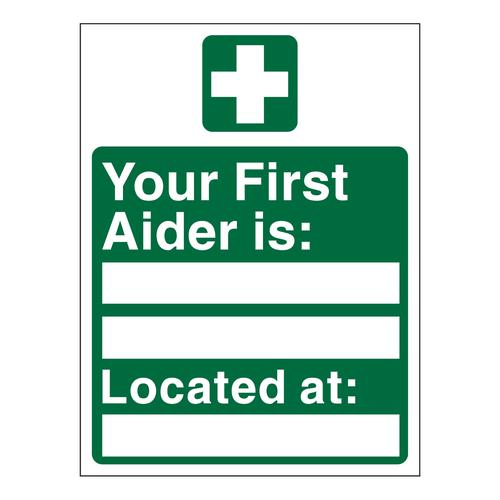 Your First Aider Is Located At Sign 150x200mm Self-Adhesive Vinyl