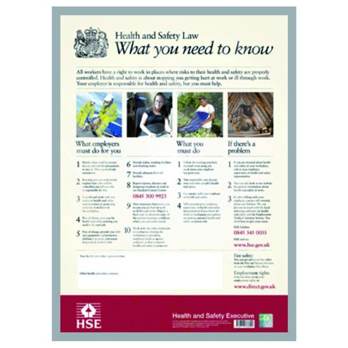 Health And Safety Law Poster Clip Framed A2 FWC100