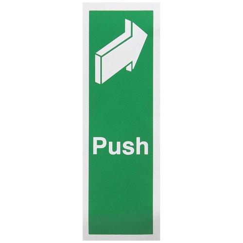 Fire Exit Push Door Sign 50x150mm Self Adhesive Vinyl