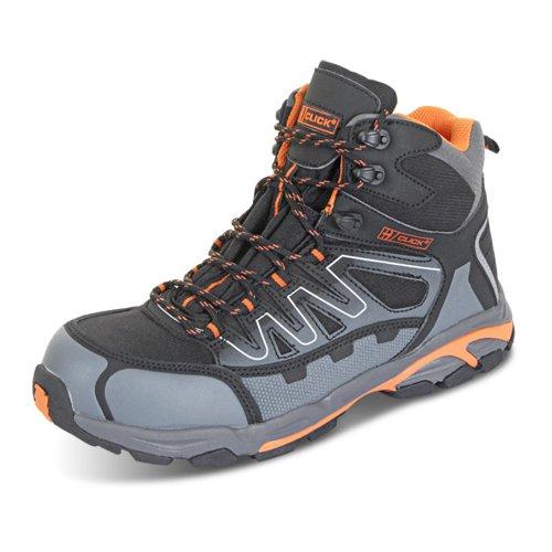 Click Footwear Hiker S3 Composite Safety Boots Black/Orange/Grey Size 10.5/EU45