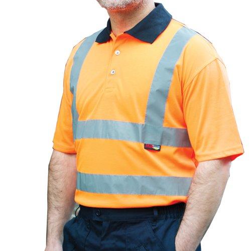Warrior Daytona High Visibility Class 2 Short Sleeve Polo Shirt Orange 0118DAYO