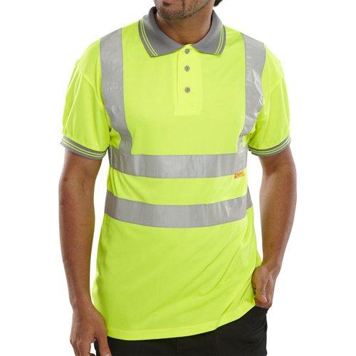 Beeswift Short Sleeve High-Visibility Polo Shirt Saturn Yellow 3XL BPKSENSYXXXL