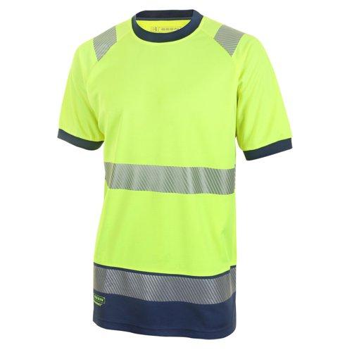 Beeswift Two Tone Short Sleeve T-Shirt Saturn Yellow/Navy Blue XL HVTT001SYNXL