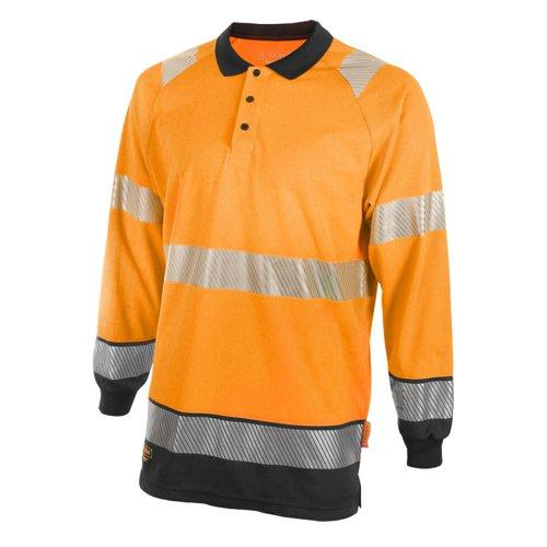 Beeswift Two Tone Long Sleeve Polo Shirt Orange/Black Medium HVTT015ORBLM