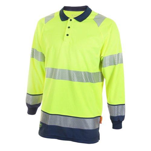 Beeswift Two Tone Long Sleeve Polo Shirt Saturn Yellow/Navy Blue XL HVTT015SYNXL