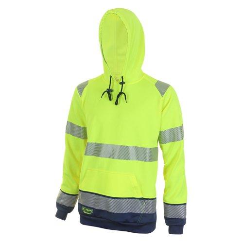 Beeswift Two Tone High-Visibility Hooded Sweatshirt Saturn Yellow/Navy Blue 3XL HVTT025SYN3XL