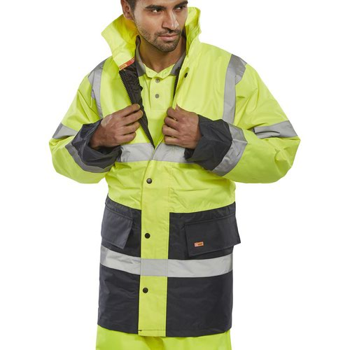 Beeswift Two Tone High-Visibility Traffic Jacket Saturn Yellow/Navy Blue Medium TJSTTENGSYNM