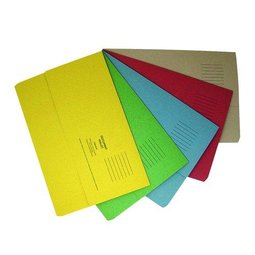Value Half Flap Document Wallet Foolscap Assorted Colours 250gsm (50)