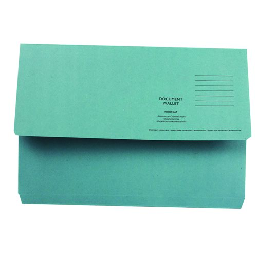 Value Half Flap Document Wallet Foolscap Blue 250gsm