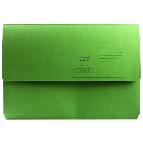 Value Half Flap Document Wallet Foolscap Green 250gsm