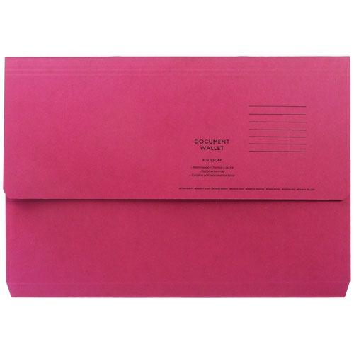 Value Half Flap Document Wallet Foolscap Red 250gsm