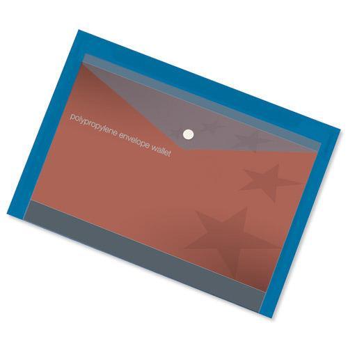 Value Polypropylene Envelope Wallets A4 Blue (5)