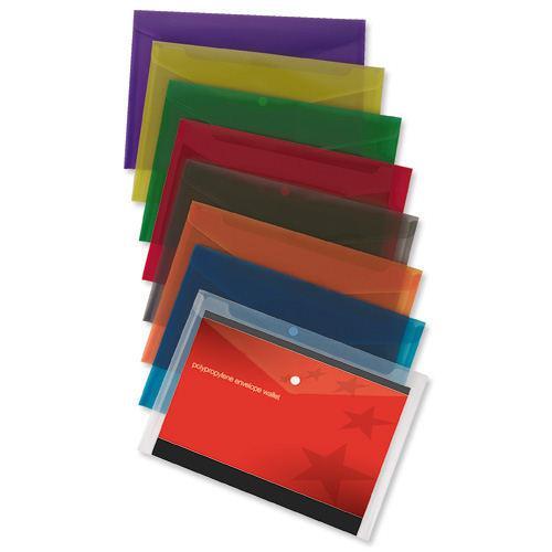 Value Polypropylene Envelope Wallets A4 Assorted (25)