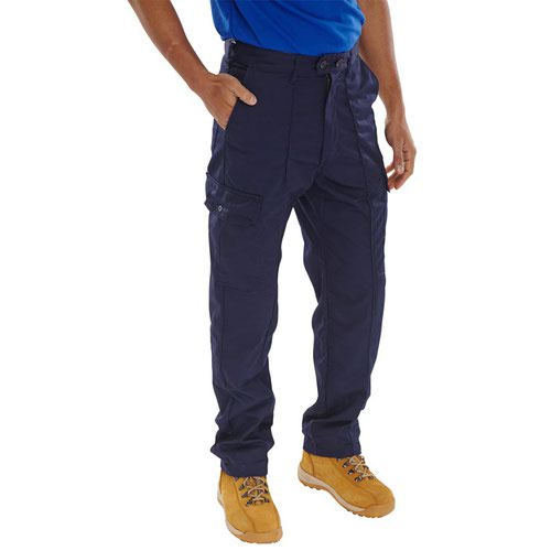 Beeswift Polycotton Drivers Trousers Navy Blue 34R PCTHWN34
