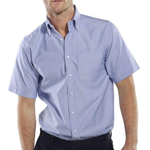 Beeswift Short Sleeve Oxford Shirt Blue 17inch OXSSSB17