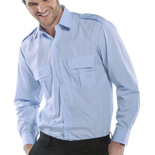 Beeswift Long Sleeve Pilot Shirt Blue 16inch PSLSB16