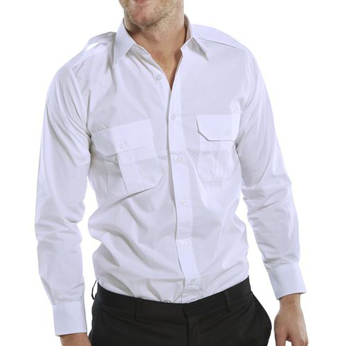 Beeswift Long Sleeve Pilot Shirt White 18inch PSLSW18