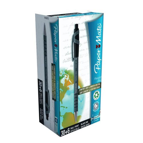 Paper Mate Flexgrip Retractable Ballpoint Pen Medium Black Value Pack 1910073