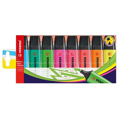 Stabilo BOSS Highlighter Assorted Colours (8) 70/8
