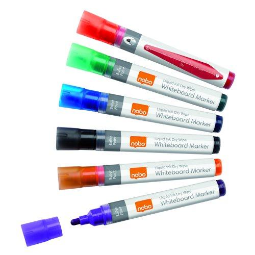 Nobo Liquid Ink Drymarker Bullet Tip Assorted Colours (6) 1901077